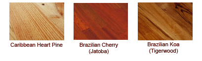 brazilian cherry, tigerwood, caribbean heart pine
